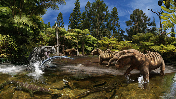 охота древнего крокодила